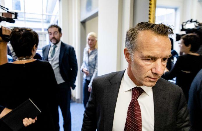 Klaas Dijkhoff (VVD) en Wybren van Haga (R) voorafgaand aan het fractieberaad
