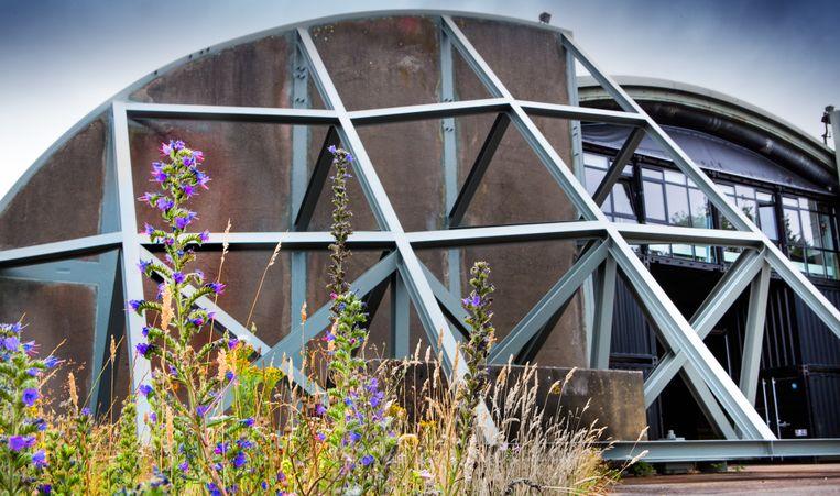 Deze voormalige, door veel bloemen omgeven shelter op Soesterberg, bood ooit onderdak aan F16's. Nu is het een werkruimte van Utrechts Landschap.  Beeld Maarten Hartman