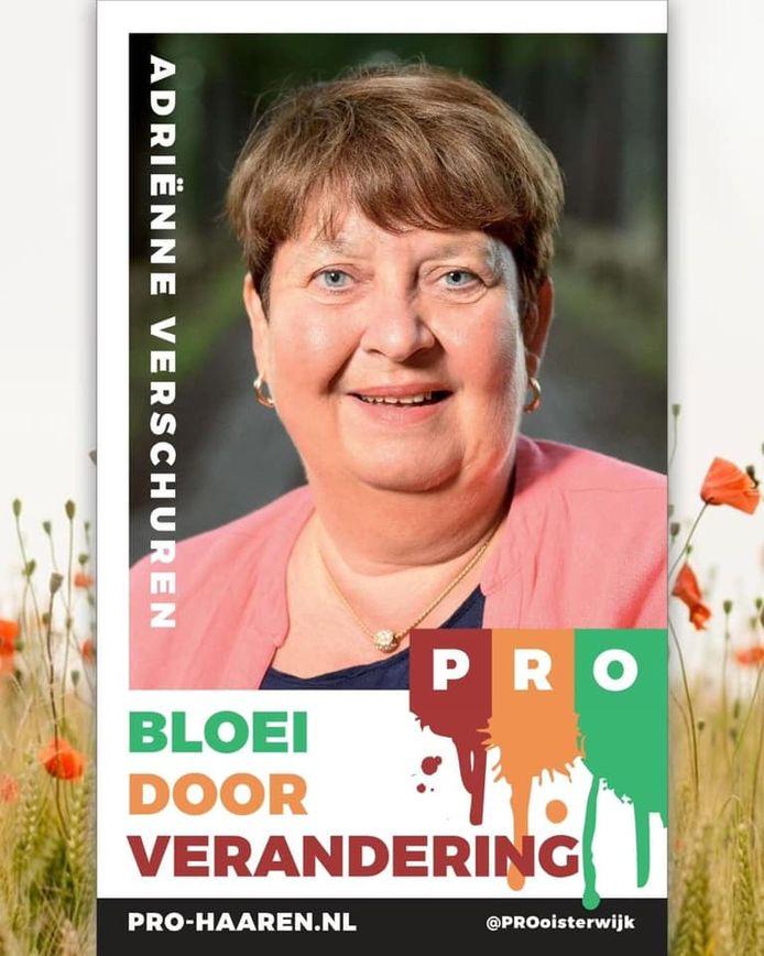 Verkiezingsposter van Adrienne Verschuren (1959-2021)