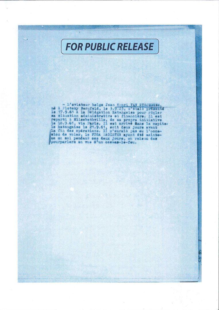 Een gedeclassifeerd document van Staatsveiligheid over Van Risseghem. Beeld RV