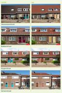 Uit de brochure over renovatie van de 119 woningen van Wooninc. in de Gildebuurt in Eindhoven, een vergelijking van de toestand voor en na de opknapbeurt. Daken en deuren en kozijnen zijn de meest opvallende veranderingen.