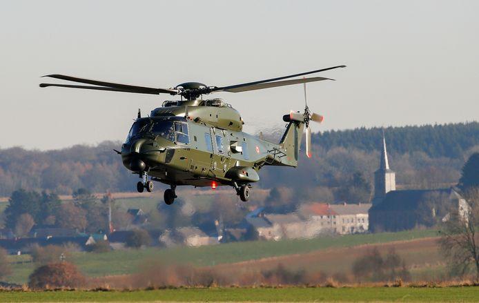Een NH90-helikopter op de luchtmachtbasis van Florennes.