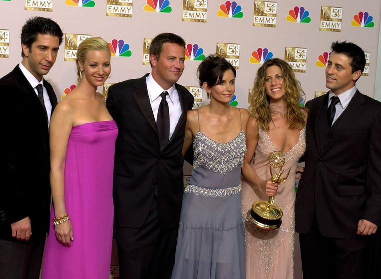 De cast van Friends, met David Schwimmer, Lisa Kudrow, Matthew Perry, Courteney Cox Arquette, Jennifer Aniston en Matt LeBlanc. Beeld AP