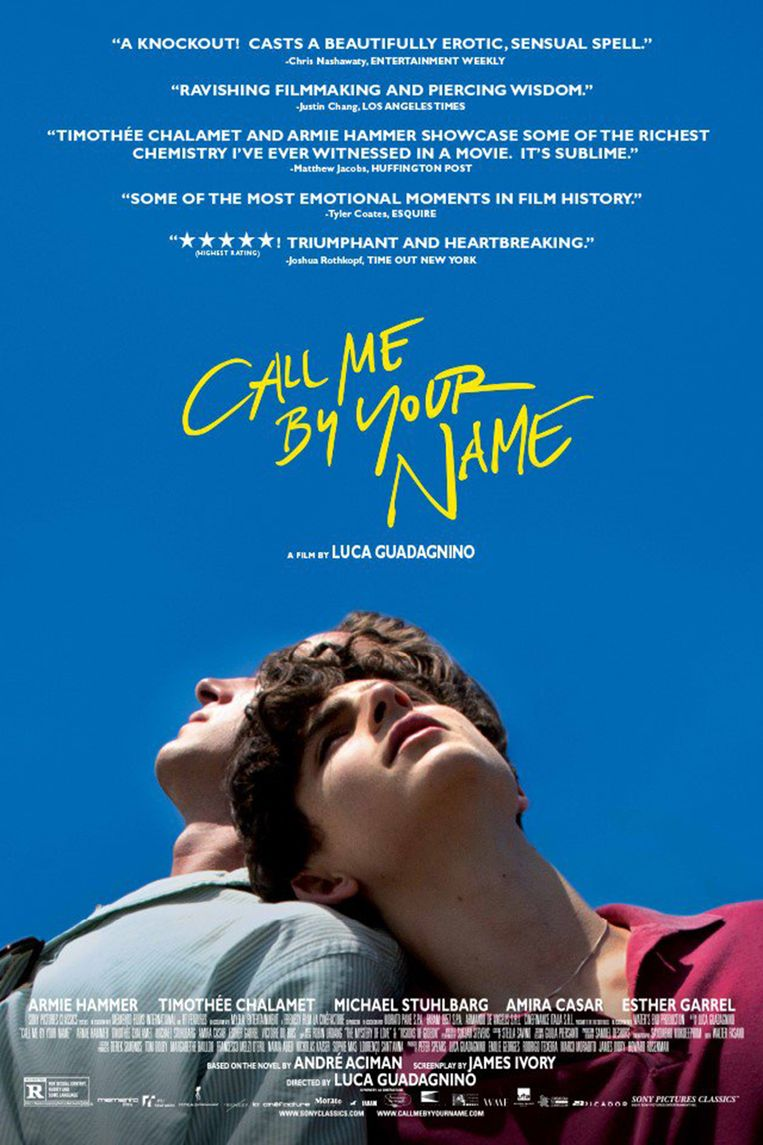 Poster film 'Call Me By Your Name'. Beeld Joblo
