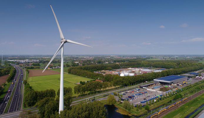 De windturbine bij de Treurenburg in Den Bosch.