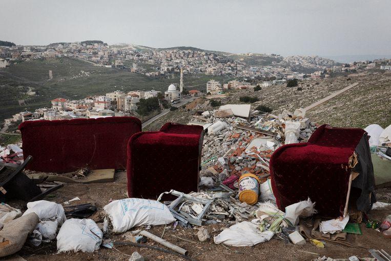 Zicht op de Arabisch-Israëlische stad Umm al-Fahm, de grootste stad in de zogenoemde Arabische Driehoek. Beeld Daniel Rosenthal