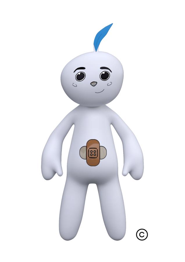 Zico is een zacht, wit animatiefiguurtje met een veertje op zijn hoofd en een pleister op zijn buik.
