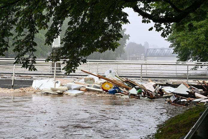 Illustration shows damage at the closed Belle-Ile bridge with the floods in Liege after heavy rainfall, Thursday 15 July 2021. The provincial disaster plan has been declared in Liege, Luxembourg and Namur provinces after large amounts of rainfall. Water in several rivers has reached alarming levels. BELGA PHOTO ERIC LALMAND