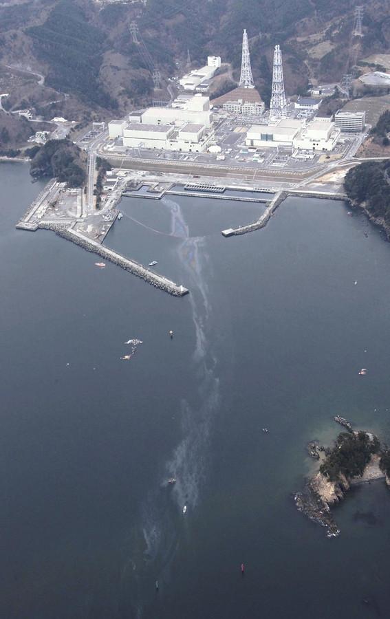 8 avril 2011: centrale d'Onagawa vue du ciel après le sinistre