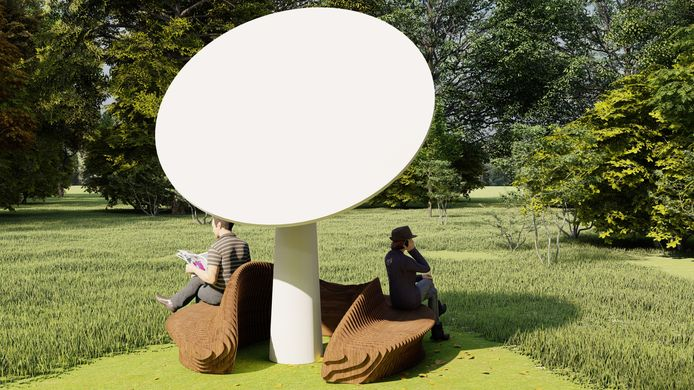 Artists impression van een Ecoplant met een hippe bank die Zwolse studenten ontwierpen.