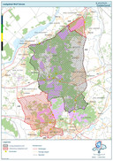 Het leefgebied van de wolf op de Veluwe, met in het rood de gebieden die in 2021 zijn toegevoegd. Daar ligt het Park Hoge Veluwe midden tussenin.