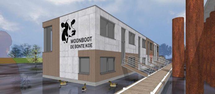 Artist Impression van de woonboot met vijf appartementen in de Nieuwe haven in Arnhem.