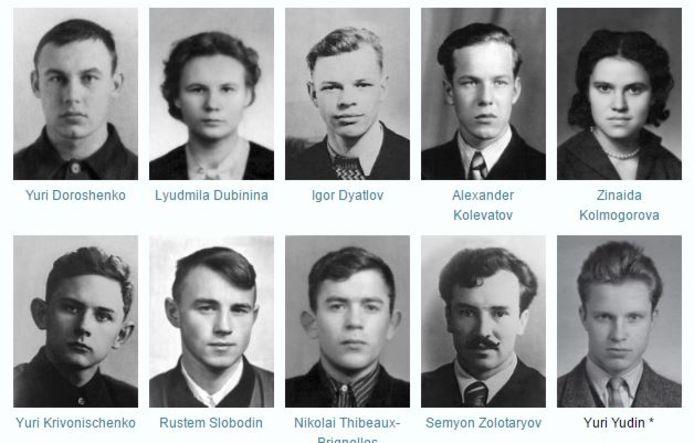 De tien ongelukkige skiërs, alleen Joeri Joedin (rechtsonder) overleefde omdat hij de dag voordat de expeditie vertrok toevallig ziek werd.