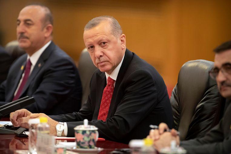 De Turkse president Recep Tayyip Erdogan. ' Europese waarden zijn de enige hoop voor de 50 procent van de Turken die niet in Erdogan gelooft', zegt Selim.  Beeld EPA