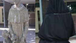 School bedekt standbeeld van heilige wegens te suggestief