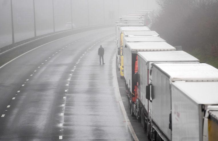 Meer dan 10.000 buitenlandse werknemers zullen tijdelijk in het Verenigd Koninkrijk mogen werken als vrachtwagenchauffeur en in de levensmiddelensector.  Beeld EPA