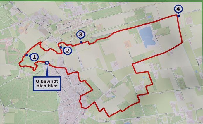De route van het Grenspalenwandelpad.