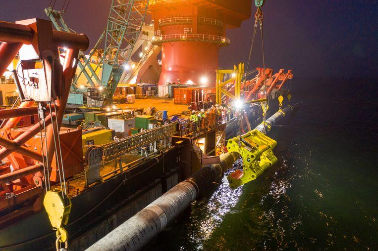 Werkzaamheden aan de Nord Stream 2, de gasleiding door de Baltische zee loopt, 8 september. Beeld via REUTERS