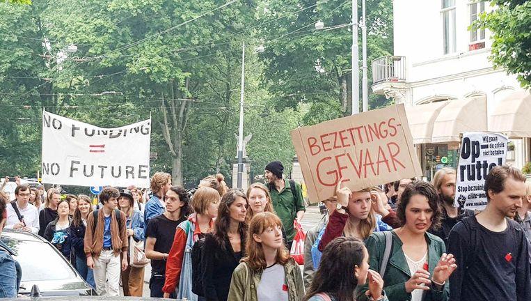 Protest bij de Universiteit van Amsterdam Beeld David van Unen