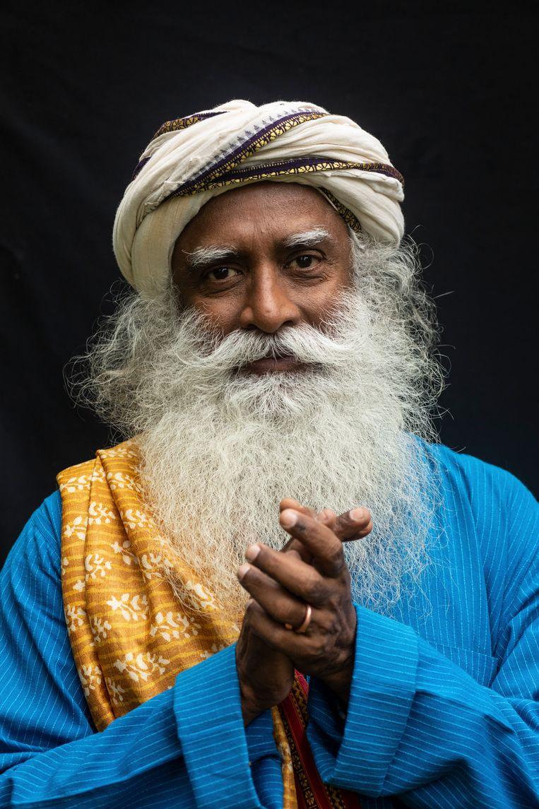 Sadhguru, geboren als Jaggi Vasudev, gefotografeerd in Londen.  Beeld Antonio Zazueta Olmos