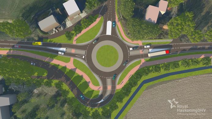 Drie van de zes kruisingen van de N489 tussen Heinenoord en Klaaswaal in beeld. Ter hoogte van de Raadhuislaan en de Westdijk komt een rotonde. Op de Blauwesteenweg bij Westmaas is vooral ruimte gemaakt voor fietsers.