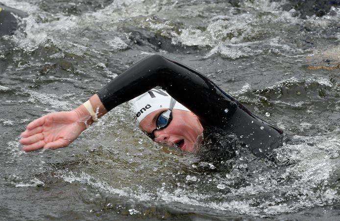 Sharon van Rouwendaal tijdens haar vorige EK openwaterzwemmen in 2018 in Glasgow. Hier won ze driemaal goud (5 en 10 km en in de landenwedstrijd) en één keer zilver (25 km).