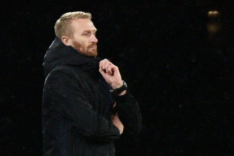 Wim De Decker tijdens zijn laatste wedstrijd als hoofdcoach van AA Gent. De Buffalo's verloren in eigen huis met 1-2 van Slovan Liberec.  Beeld REUTERS