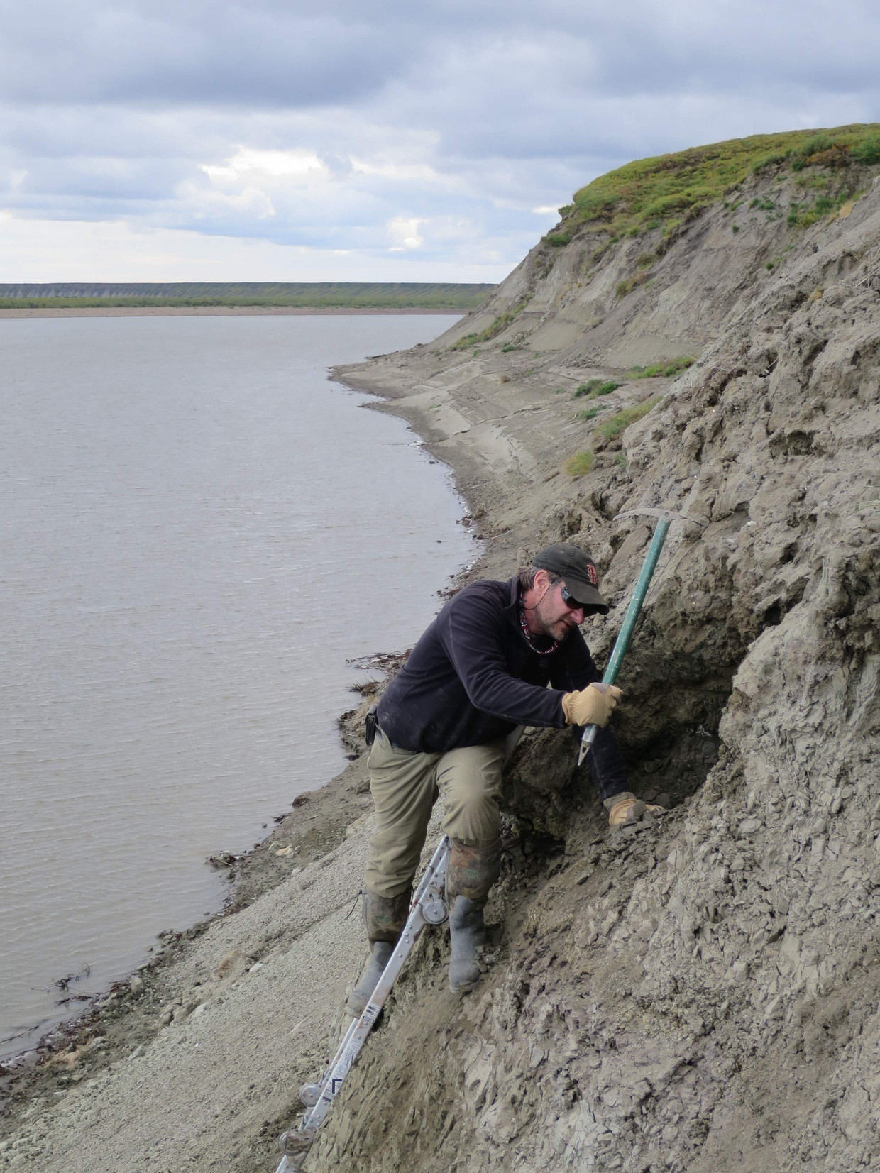 Researcher Greg Erickson bezig met opgravingen aan de oevers van de Colville River in Noord Alaska. Dinosaurussen kwamen hier niet alleen maar langs, ze leefden er permanent – ondanks de barre omstandigheden.  Beeld AFP