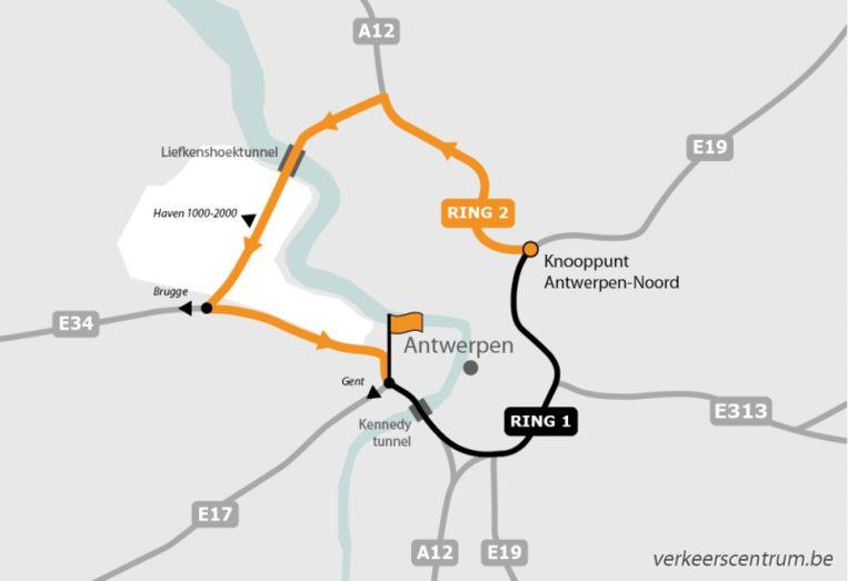 De Kennedytunnel richting Gent werd afgesloten na een ongeval Beeld Vlaams Verkeerscentrum