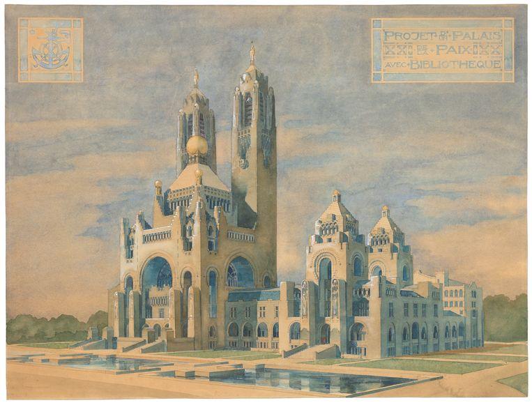 Ontwerp voor het Vredespaleis, Willem Kromhout, 1906.  Beeld Collectie Het Nieuwe Instituut