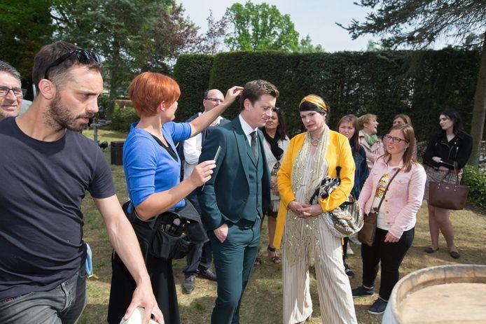 Op de set van de Kampioenen-film met personages Ronald en Goedele