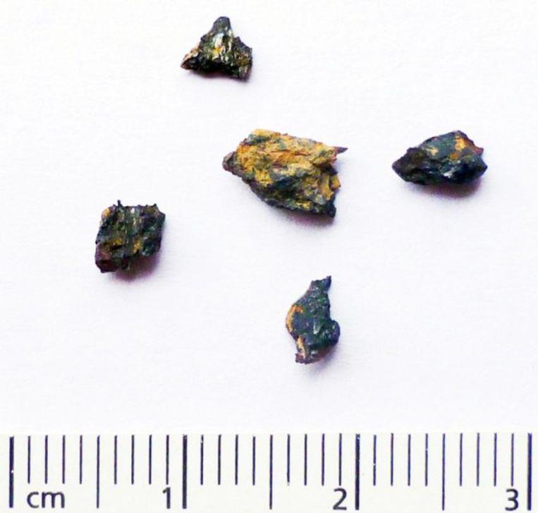 Enkele fragmenten van de Hypatia-steen. De oorspronkelijke steen moet enkele meters breed zijn geweest, maar uiteen zijn gevallen toen deze de atmosfeer van de aarde binnendrong. Beeld Dr Mario di Martino / INAF Osservatorio Astrofysico di Torino