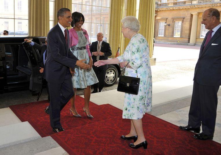 Koningin Elizabeth III en prins Philip ontvangen het presidentieel<em> </em>paar. © BRUNOPRESS Beeld