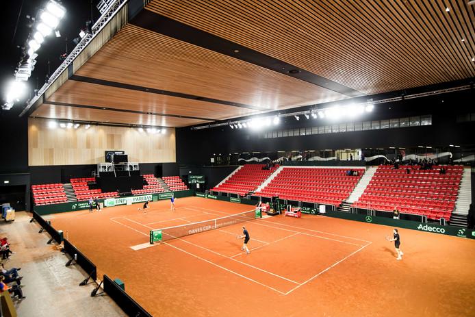 Het Nederlands Davis Cup-team traint in aanloop naar de ontmoeting met Tsjechië in Sportcampus Zuiderpark.