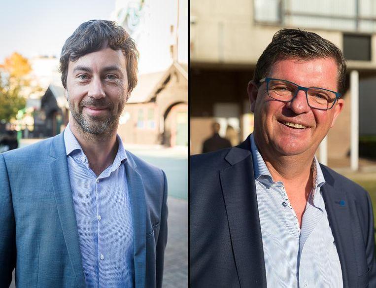 Wouter De Vriendt (Groen) en Bart Tommelein (Open Vld). Beeld Foto Belga