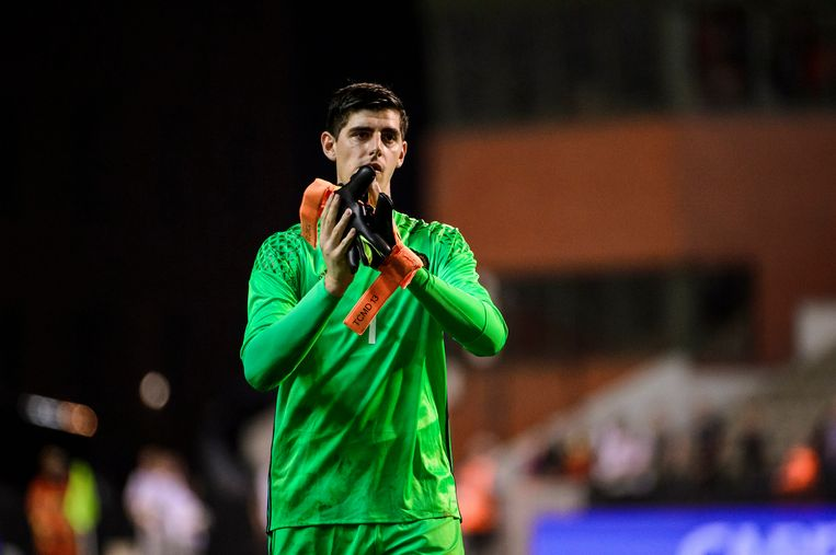 Belgium's goalkeeper Thibaut Courtois pictured after a friendly match between Belgian national soccer team Red Devils and Spain, on Thursday 01 September 2016, in Brussels. BELGA PHOTO NICOLAS LAMBERT Beeld null
