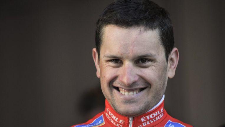 Anthony Ravard verloor de spurt van ploegmaat Mondory, maar is wel de nieuwe leider in Bessèges. Beeld AFP