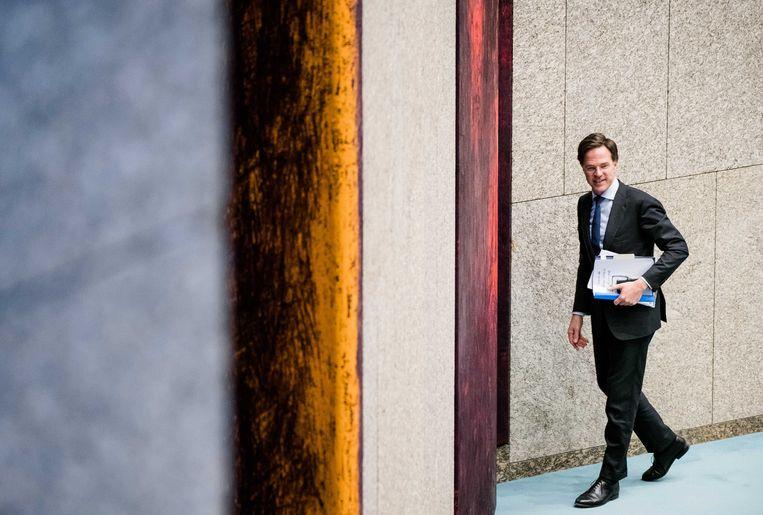 Premier Mark Rutte tijdens een debat in de Tweede Kamer over de coronacrisis. Beeld ANP