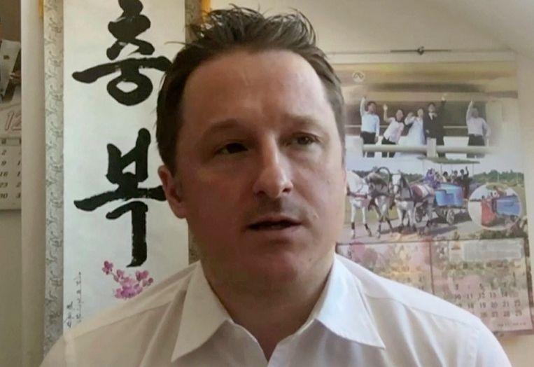 Michael Spavor in een oud Skype-interview Beeld AP