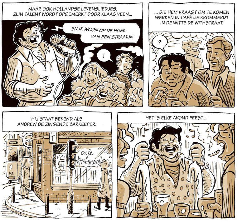 Fragment uit Bloed, het nu verschenen eerste deel uit de driedelige stripbiografie van André Hazes Beeld -