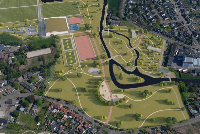 Een impressie van de voorkeursvariant. De Aa krijg een nevengeul en een hoogwatergeul, er komt een verbindend park en de sportvelden zijn geconcentreerd rondom het nieuwe Multifunctionele Centrum (linksboven).
