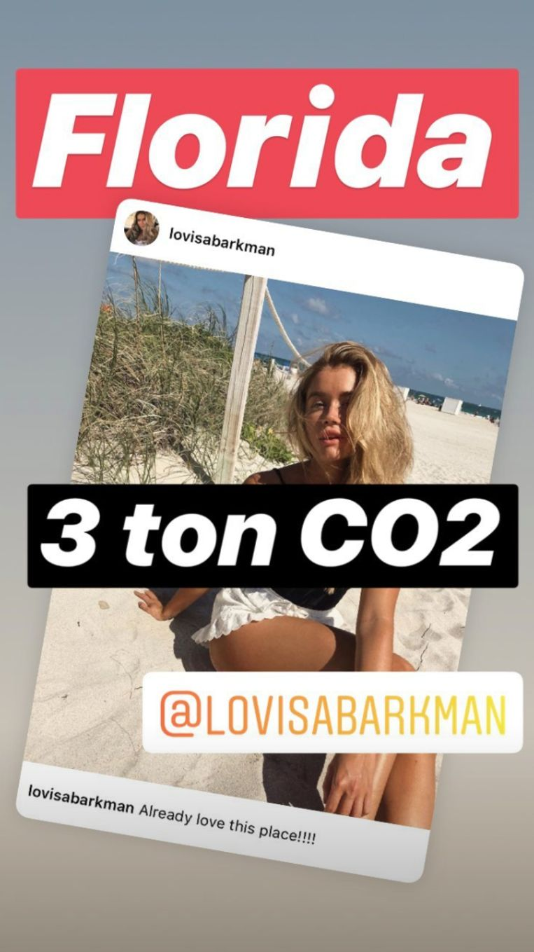 Op het Instagramprofiel van Aningslösa influencers, Zweeds voor argeloze influencers, krijgen bekende Zweden een veeg uit de pan voor hun vliegreizen. Beeld RV - Instagram