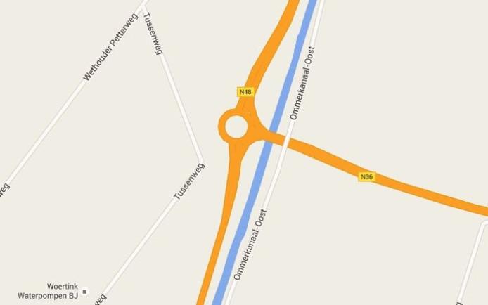 De rotonde waar het ongeluk gebeurde. Foto: Google Maps