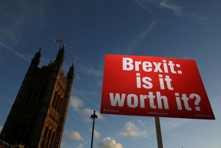 Een anti-brexit-demonstrant houdt een bord omhoog in Londen met de tekst 'Brexit: is het het waard?' Beeld REUTERS