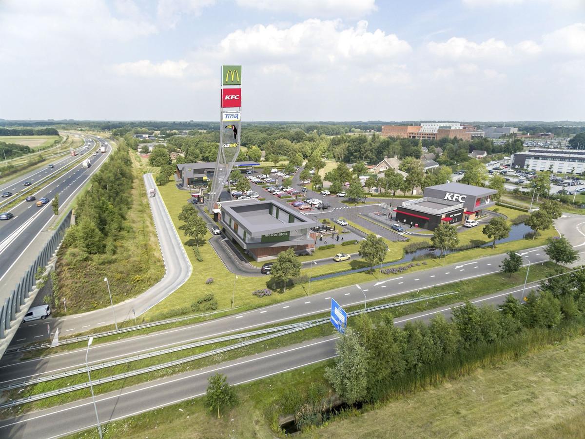 De reclamezuil van het foodcourt Uden wordt minder hoog dan op deze impressie is getekend. Geen 46 maar 40 meter.