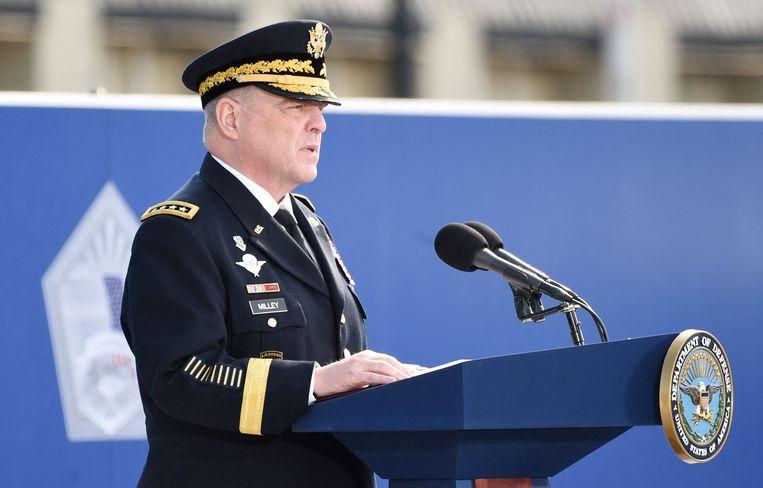 Generaal Mark Milley, hier tijdens de herdenkingsceremonie rond 9/11 afgelopen weekend.  Beeld AFP
