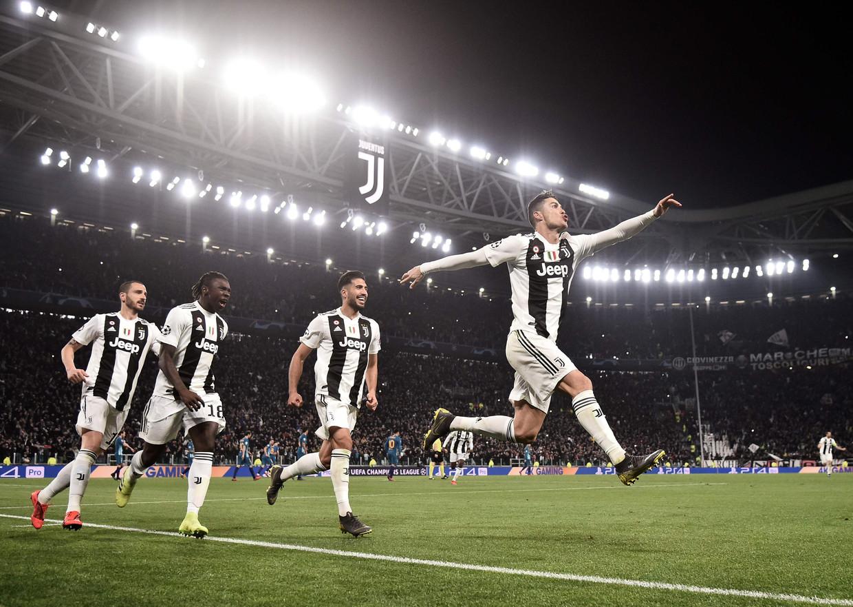 Cristiano Ronaldo viert de 3-0 tijdens de UEFA Champions League-wedstrijd tegen Atlético Madrid.