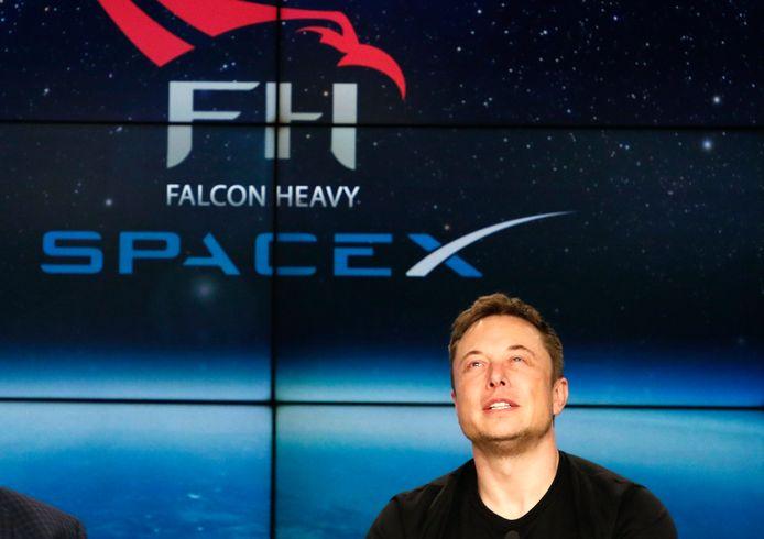 SpaceX-oprichter Elon Musk op de persconferentie na de eerste lancering van de Falcon Heavy op Cape Canaveral.