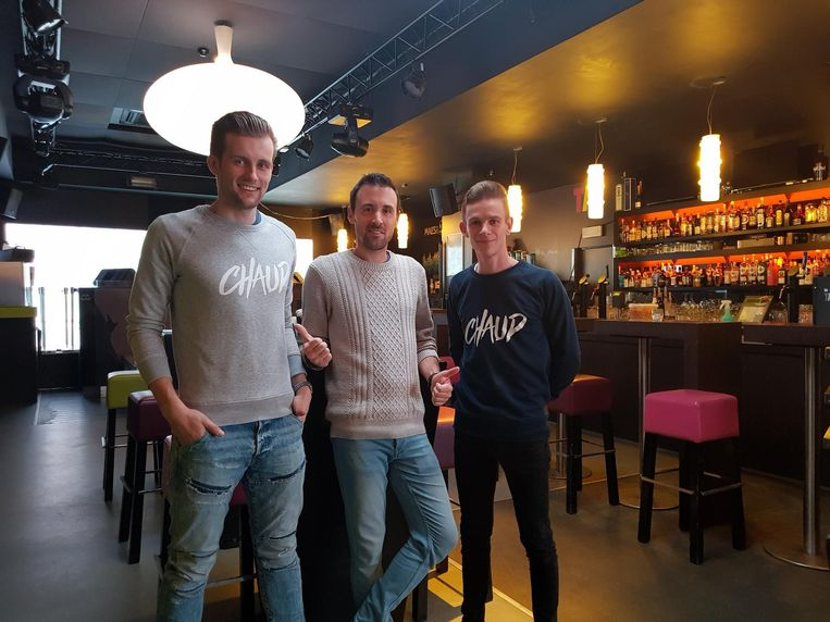 Niek Calcoen (centraal) van Club Nice met Gilles Vanmassenhove (links) en Eros Bourgoignie van Chaud Events.