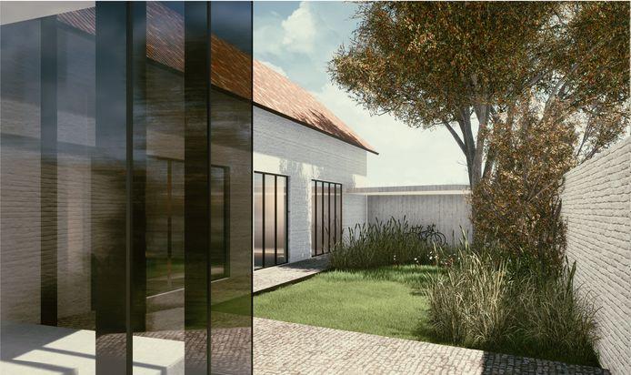 Simulatie met zicht op de gerestaureerde schuur en de binnentuin.